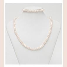 120-SW / Komplekts no baltā saldūdens pērlēm (kaklarota + rokassprādze).